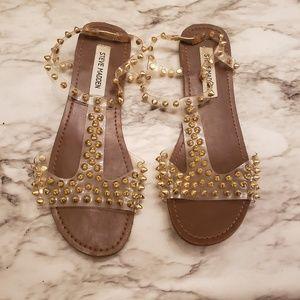 Steve madden gold spiked sandals